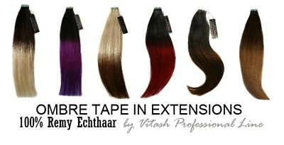 ➨OMBRE Echthaar Tape In On Extensions Haarverlängerung REMY ● INDIAN Human Hair●
