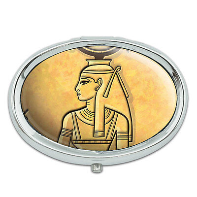 Hathor Ancient Egyptian Goddess Metal Oval Pill Case Box