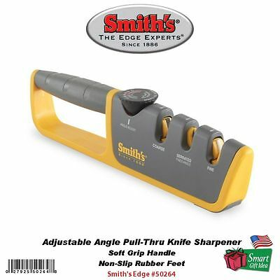 Smith's Abrasives Adjustable Angle Pull-Thru Knife Sharpener, Soft Grip #50264