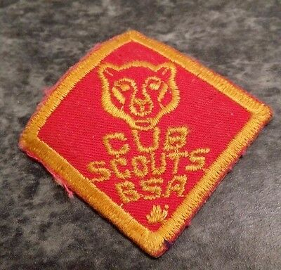 """Cub Scouts BSA Patch  Vintage 1960's Red & Gold 1 1/2"""" Square"""