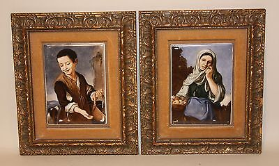 Antique German Hutschenreuther KPM Painting on Porcelain 5x7 Plaques Boy & Girl