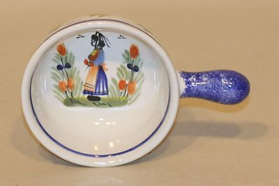 Henriot Quimper Pottery Small Handpainted Bowl Dish with Handle 954 Breton Woman