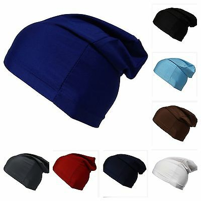 BEANIE Slouch Dome Cap Spandex Liner Sports Biker FootBall Hat Headwrap Stretch