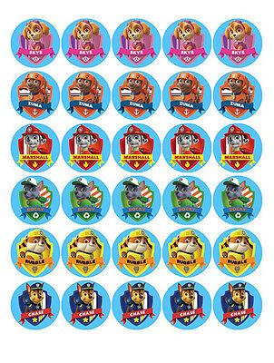 30 PAW Patrol Edible MINI WaferPaper Cupcake Cup Cake Decoration Toppers Images