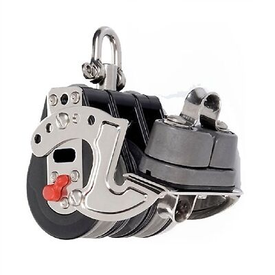 Ratchet Pulley Triple Swivel With Cam Cleat - 57mm Sheave