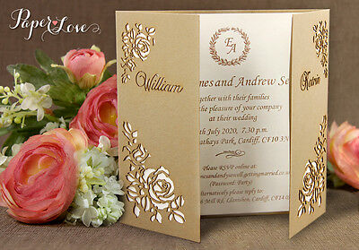 Wedding Invitations Personalised Day Evening Laser Cut FREE Envelopes FREE P&P