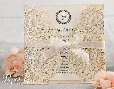 Personalised Laser Cut Wedding Invitations Day & Evening Invites Handmade