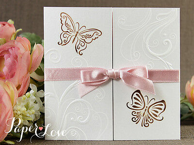Intricate Personalised Laser Cut Wedding Invitation Gatefold Butterfly Free P&P