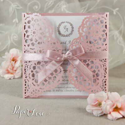 50 Personalised Laser Cut Wedding Day Evening Invitations Free P&P Envelopes