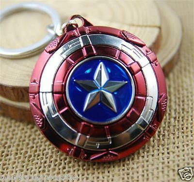 2019 New Rotatable Captain America Shield Metal Zinc Alloy Keyring KeyChain Gift