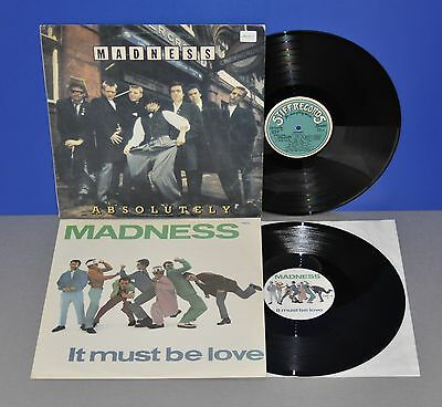 """2x Madness LP Absolutely '80 + 12"""" Maxi It must be love UK '81 Vinyl cleaned"""