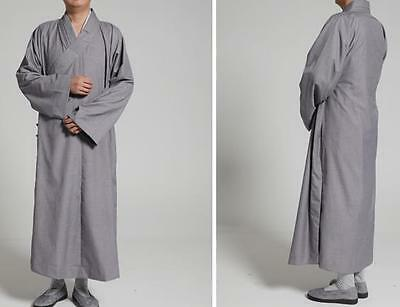 gray Cotton buddhist kung fu suits lay meditation robe summer shaolin Monks gown