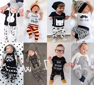 2pcs Toddler Infant Baby Boy Girl Clothes T-shirt +Pants Outfits Set Size 00-2