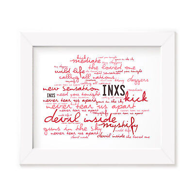 `Zephyr` INXS Art Print Typography Album Song Lyrics Signed Numbered Rock Poster