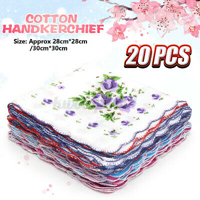 20Pcs Vintage Style Floral Flowers Handkerchief Lady Women Kids Cotton Hanky