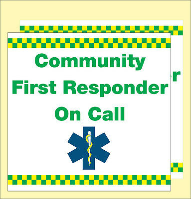 Community First Responder on Call (Vehicle Magnetic signs). x2. 300X300mm