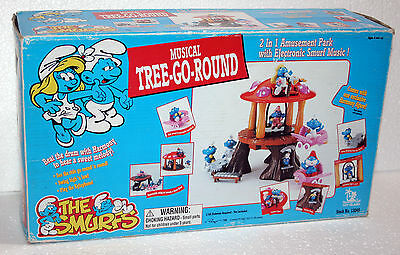 The Smurfs Musical Tree Go Round I Puffi Nuovo Fondo Magazzino Toy Island 130145