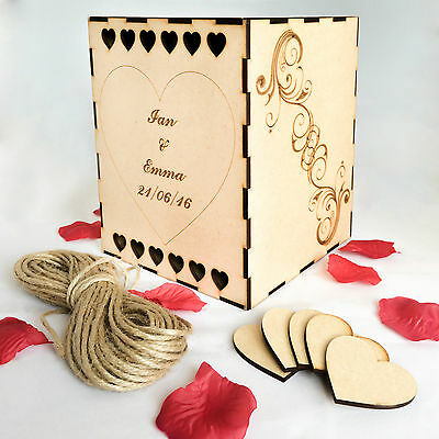 Wooden Wedding Box Guest Book Wishing Well - Personalised With Hearts Decor Gift