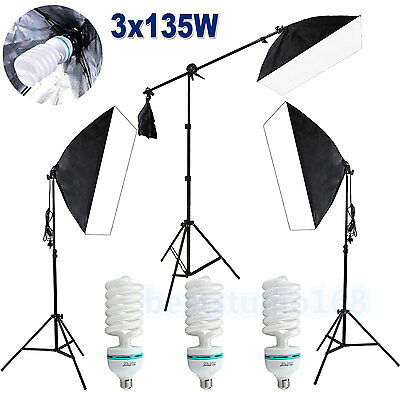 2025W Photography Studio Softbox Continuous Soft Box Lighting Boom Arm Stand Kit