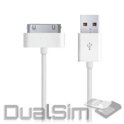 USB Ladekabel datenkabel für iPhone 4S 4 3GS 3G iPad 3 2 1 iPod Nano Touch Weiss