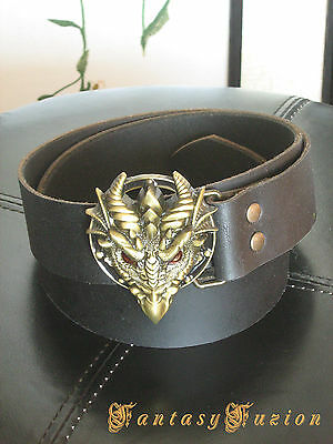 Leather Belt with Dragon Head Buckle