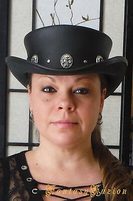 Steampunk Hat Classic Rocker Skull Band Gothic Leather Standard SHORT Top Hat