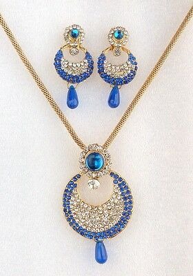 Ethnic Indian Designer Gold Plated Green Pendant Necklace Earrings Jewelry Set