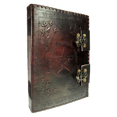 Book Of Shadows Leather Pentagram 25cm High 100 Pages Journal Diary Nemesis Now