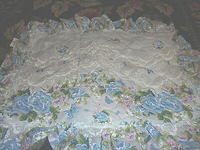 Pair of vintage butterfly cottage chic BLUE roses pillowshams RUFFLES old chic