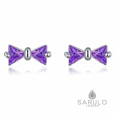 Purple Bow Stud Earrings Sarulo 925 Solid Sterling Silver New Jewelry Gift Hot