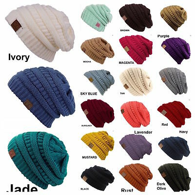 CC women Slouch Bubble Knit Beanie Cap Baggy Oversize Winter Snow Ski Snow Hat