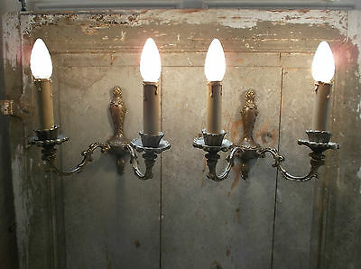 French a pair of patina bronze wall light sconces gorgeous   vintage