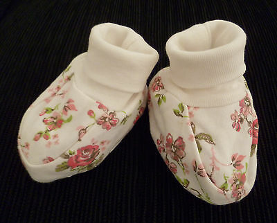 Baby clothes GIRL 3-6m NEXT floral cream cuff cotton shoes/bootees NEW! SEE SHOP
