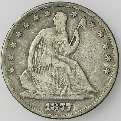 1877 Seated Liberty Half Dollar Large Silver Coin [2201.32]