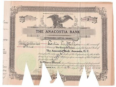 1910 The Anacostia Bank D.C. Banking Stock Certificate No.2