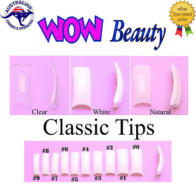 Classic Square Nail Tips - Clear/Natural/White Assorted Size #0-9 Tips Tray