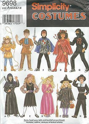 Simplicity 9698 Child's Mix and Match Costumes 3, 4, 5, 6, 7, 8  Sewing Pattern