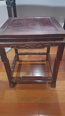 Antique Chinese Side Table Carved Wood