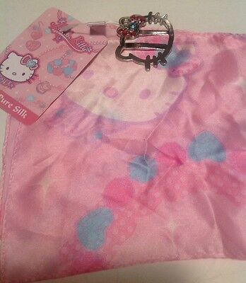"Sanrio Vtg Hello Kitty Couture 54"" Pink Silk Scarf w Slide & Crystals New w Tag"