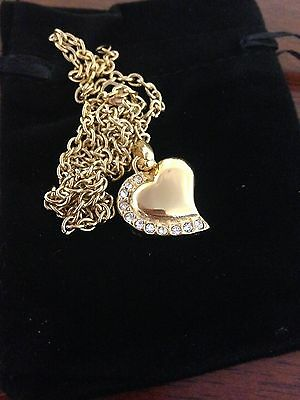 """Memorial Cremation Jewelry/Pendant/Keepsake for Ashes-""""Gold Heart with CZ Diamon"""