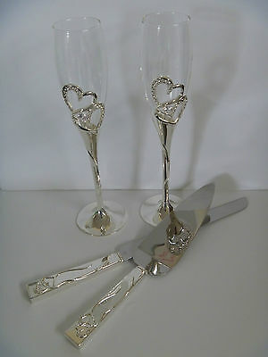 Wedding Toasting Glasses & Serving Set with Diamante Hearts / Champagne Flute