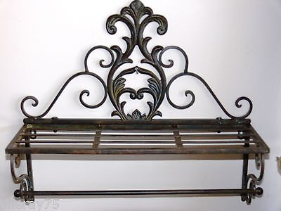 Antique french style bathroom towel rack rod  shelf  rail brown new