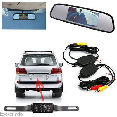 "4.3"" LCD Mirror Monitor+Night Vision Reversing Camera Wireless Car Rear View Kit"
