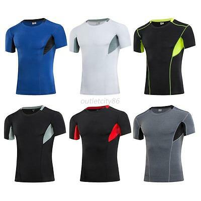 Men's Elasticity Sport T-Shirt Short Sleeve Top Tee Compression-Shirt Quick Dry