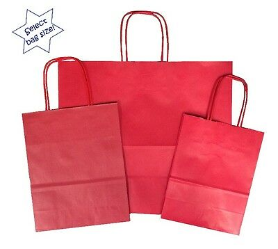 Red Paper Party Gift Bags ~ Boutique Shop Loot Favour Bag ~ Select Your Size