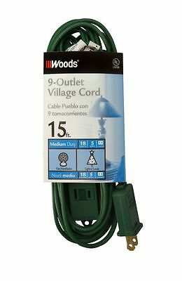 Coleman Cable 2189 2 Pack 15ft. 9 Outlet Indoor Village Extension Cord, Green