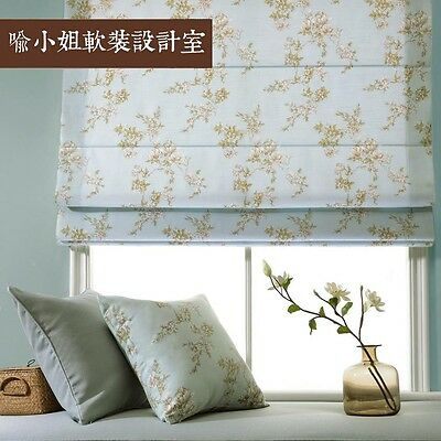 Custom Floral Blue Roman Blind Curtain French Country Cottage Shabby Chic