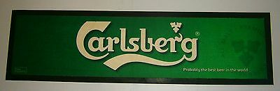 Carlsberg Beer rubber backed pub drink mat runner for home bar or collector