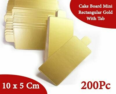 Cake Board Mini Rectangular Gold With Tab 200Pc 10x5 Cm Cupcake Boxes Cake Boxes