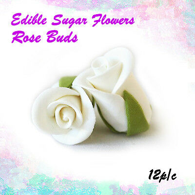 Edible Sugar Flowers 12 Rose Buds Cake Cupcake Decoration Cake Toppers Flowers